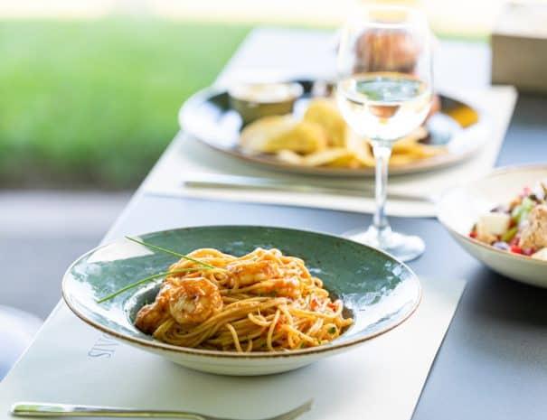 shrimp spaghetti at Aiolis restaurant lake kerkini