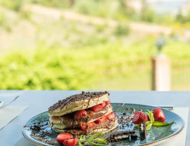 Pancakes with lake view at erodios cafe