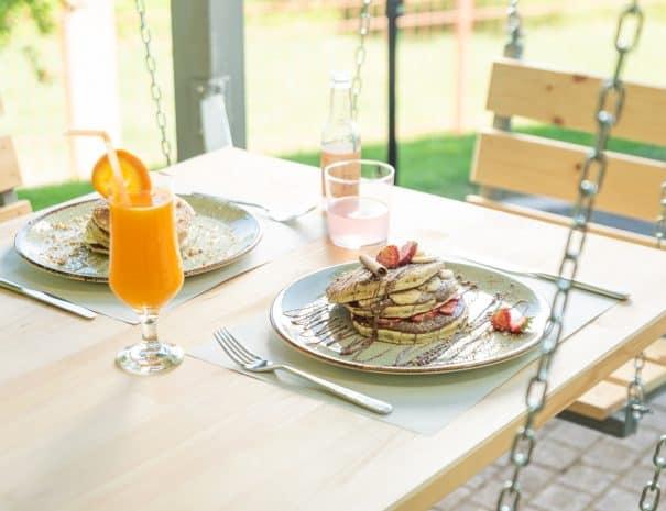pancakes in erodios cafe at lake kerkini