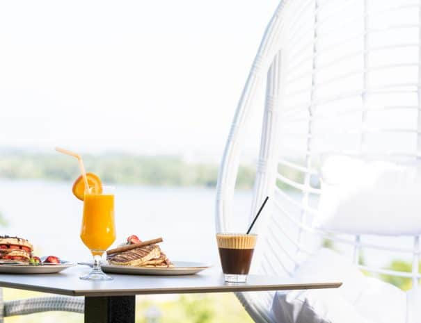 coffee and juice with kerkini lakeview