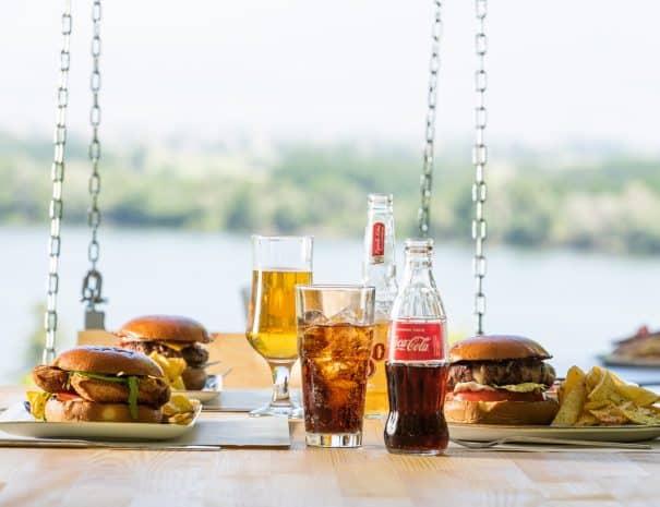 Hamburger at Erodios cafe bar with kerkini lakeview